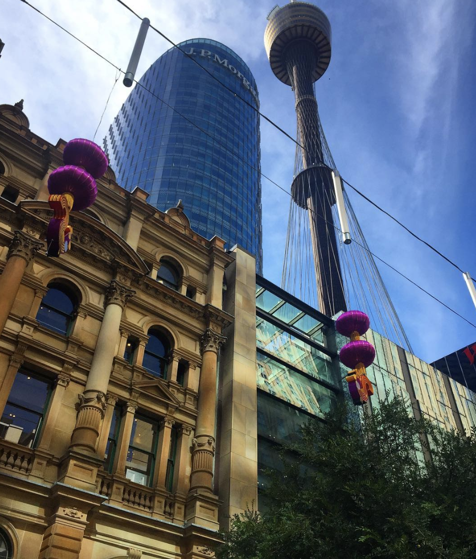 Sydney Tower seen from Pitt Street Mall (Photo: Simon Jordan, @simonjordan27)